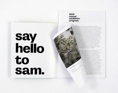 """Say hello to sam"" 2012 annual exhibition grogram"