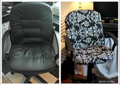 "No Sew Recovered Office Chair Project Homesteading  - The Homestead Survival .Com     ""Please Share This Pin"""