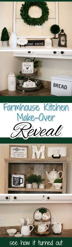 She redecorated her kitchen in Modern Farmhouse Style - see how it turned out!  Love all the country charm and rustic decor - gorgeous!