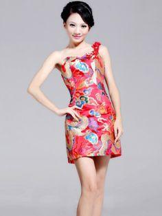 f503678f2beb6 Short Red Chinese Qipao   Cheongsam Bridesmaid   Evening Dress