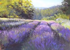 Original oil and pastel landscape paintings from the countryside of Oregon by Amanda Houston. Lavendar Painting, Lavender Paint, Soft Pastel Art, Pastel Drawing, Soft Pastels, Pastel Landscape, Abstract Landscape, Seascape Paintings, Landscape Paintings
