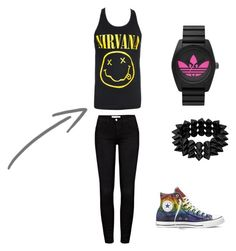 """Blackk No.3"" by suvalic-haris ❤ liked on Polyvore featuring Frame Denim, Converse, adidas and blackrock"