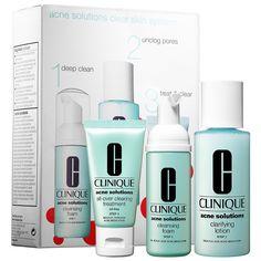 Allure Best of Beauty winner: CLINIQUE – Acne Solutions Clear Skin System Starter Kit #Sephora #skincare #valueset