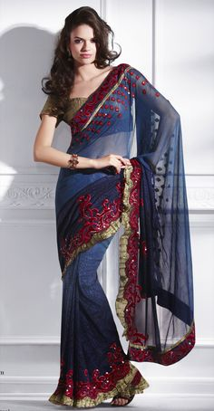 Online shopping on designer brands for women clothing. Discount shopping on designer dresses, footwear, handbags, watches, accessories and much more at Styletag India Asian Fashion, Fashion Beauty, Elegant Saree, Indian Couture, Saree Styles, Beautiful Saree, Indian Sarees, Traditional Dresses, Indian Wear
