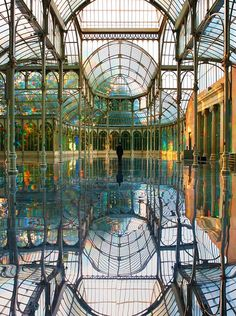 One of my favorite places in Madrid! The Crystal Palace, Madrid, Spain. The Crystal Palace, Crystal Palace Madrid, Crystal Castle, The Places Youll Go, Places To Visit, Foto Madrid, Le Palais, Outdoor Settings, Beautiful Architecture
