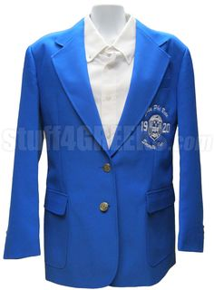 Zeta Phi Beta Embellished Crest Blazer Jacket, Royal Blue  Item Id: PRE-BLZR-ZFB-EMBL-CREST-RBL  Price:  $169.00