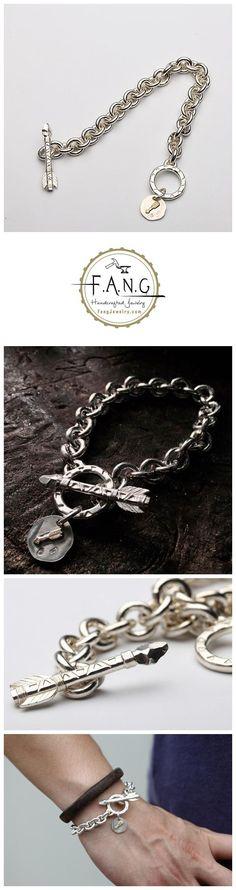 Item details Shipping & Policies Link Chain Bracelet 925 Silver Arrow Charm Bracelet Pendant Arrow 18K Gold Bracelet Men Jewelry Arrow Simple Bracelet For Men Toggle Clasp.