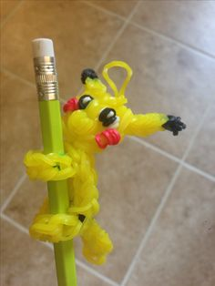 Rainbow Loom Pokemon Pikachu pencil climber.   Adapted designs from Made By Mommy and DIY Mommy.