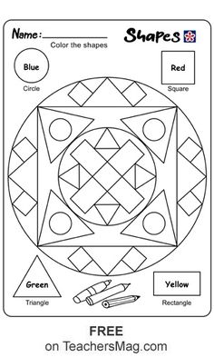 Shape Coloring Worksheet  The purpose of this worksheet is for students to color the specific shapes their matching color.