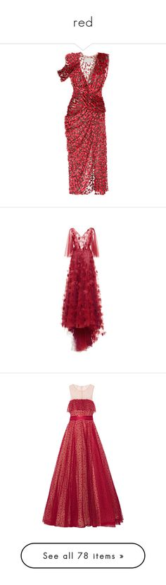 """""""red"""" by maryamwrites ❤ liked on Polyvore featuring dresses, jason wu, red, v-neck dresses, v neck drape dress, cut out shoulder dress, cut-out shoulder dresses, v neck dress, gowns and luisa beccaria"""