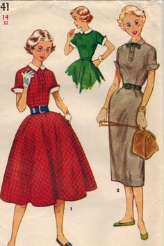 1950s Simplicity 4441 Vintage Sewing Pattern Teen's Dress, Detachable Collar and Cuffs Size 14 Bust 32