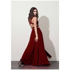 Fame&Partners Burgundy Daisy Dress ($240) ❤ liked on Polyvore featuring dresses, gowns, burgundy, two piece, 2 piece prom dresses, prom gowns, formal prom dresses, formal gowns and prom ball gowns