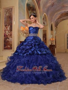 Brand New Blue Quinceanera Dress Sweetheart Organza and Taffeta Beading Ball Gown  http://www.fashionos.com  You'll be the belle of the ball in this gorgeous hot pink and orange ball gown. This magnificent Quinceanera dress has a strapless bodice with a sweetheart neckline, ruched bust and gorgeous beadwork that add interest and detail.