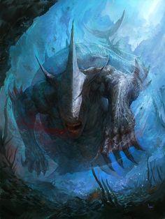 Monster Concept Art, Fantasy Monster, Monster Art, Fantasy Creatures, Mythical Creatures, Sea Creatures, Creature Concept Art, Creature Design, Arte Horror