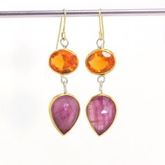 Mexican Fire Opal & Pink Rose Cut Sapphire Dangle Drop Earrings
