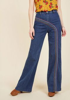 Take a spin around the roller rink in these rainbow-adorned, vintage-inspired jeans by Fervour, found exclusively at ModCloth! Crafted in a classic high-waisted silhouette, these wide-legged jeans feature a zip-and-button fly, and Roy G Biv-hued embroidery from front to back so you can rule this rink in color!