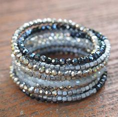 Черный кристалл Wrap браслет, Boho Wrap браслет, браслет бисероплетения