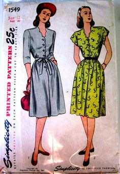 Vintage 1940s Simplicity 1549 Womens One Piece by Denisecraft, $15.99