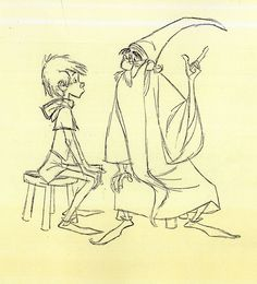 Disney Drawing Milt Kahl-Sword in the Stone. I always pictured Harry and Dumbledore looking more like these two. Art Disney, Disney Concept Art, Disney Love, Disney Magic, Cartoon Sketches, Disney Sketches, Disney Drawings, Croquis Disney, Sword In The Stone