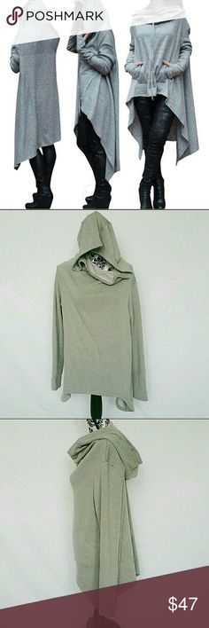 Asymmetrical Hoody Sweater @blushonme at Poshmark   Soft Asymmetrical Hoody Sweater   ALSO AVAILABLE IN BLACK!  Plush soft interior and soft cotton feel exterior.   NOTE : Stock photo used to show almost similar style, not the actual item. It has no pockets and no drawstrings.   PLEASE ASK QUESTIONS BEFORE BUYING. ALL SALES ARE FINAL. NO RETURNS. NO EXCHANGES.   NWOT  Boutique brand Sweaters