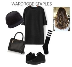 """Black"" by queenfannie ❤ liked on Polyvore featuring Converse, Forever 21 and Victoria Beckham"