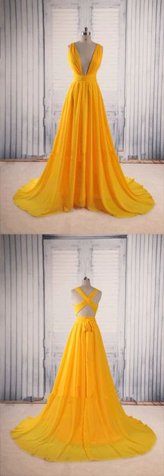 Prom Dresses,Evening Dress,Yellow Prom Dresses,Backless Prom Gown,Open Back Evening Dress,Chiffon Prom Dress,Sexy Evening Gowns,Yellow Formal Dress,Wedding Guest Prom Gowns