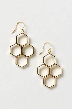 "love these 16k gold plated metal earrings (Honeycomb Hive Drops) at Anthro (1.5""L, 1""W) $32"