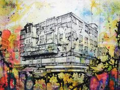 Hong Kong based artist Peter Yuill's work I find fascinating. I love his use and application of colour on top of his beautiful detailed drawings. Kwun Tong is my favorite piece here: