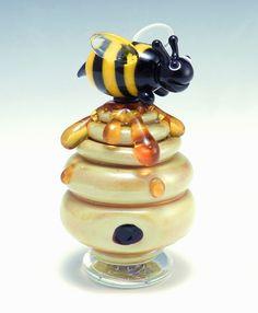 Beehive Perfume Bottle: Garrett Keisling: Art Glass Perfume Bottle | Artful Home