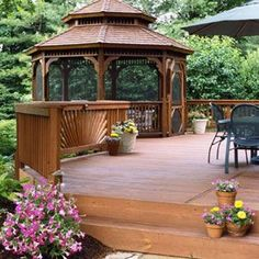 Ways to Upgrade Your Deck Deck with Gazebo - what a great way to expand a deck or add a hot tub. :DDeck with Gazebo - what a great way to expand a deck or add a hot tub. Gazebo Pergola, Screened Gazebo, Pergola Ideas, Wooden Gazebo, Cheap Pergola, Deck Ideas With Gazebo, Pergola Kits, Landscaping Ideas, Wisteria Pergola