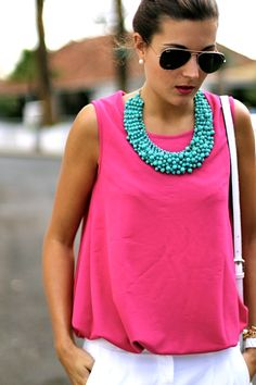 pink blouse, baggy white, turquoise
