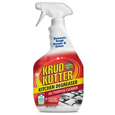 Krud Kutter Kitchen Degreaser All Purpose Cleaner is tougher on grease than other cleaners while also being food safe* and non-toxic. The technology in this tough degreaser breaks down kitchen grease & grime without any bleach, ammonia, or other harsh chemicals.