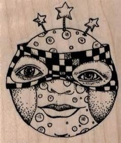 Whimsical Moon Face rubber stamp steampunk zentangle stamping 19519 ...
