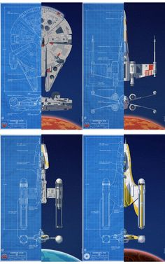 Star Wars Vehicles and blueprints: Millennium Falcon; X-Wing; Y-Wing; Y-Wing Variant Star Wars Ships, Star Wars Art, Star Trek, Walt Disney Pictures, Maquette Star Wars, Nave Star Wars, Star Wars Spaceships, Star Wars Vehicles, X Wing