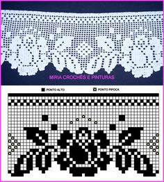 Bico de crochê Home Decor home decor paintings Crochet Lace Edging, Crochet Borders, Crochet Doilies, Doily Patterns, Afghan Crochet Patterns, Crochet Stitches, Filet Crochet Charts, Crochet Diagram, Crochet Home