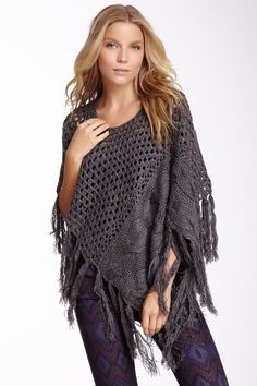 Angled Open Knit Fringe Poncho on HauteLook