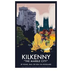 A2 (594 x 420mm) signed poster of Kilkenny featuring the castle and St Mary's Cathedral.Printed on Amber wove poster stockArtist: Roger O'Reilly