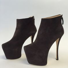 """NWOB Giuseppe Zanotti Suede Platform Ankle Boots These are to die for! 6"""" stiletto heel, 2.5"""" hidden platform. Soft supple suede leather. Padded insole and leather interior. Back zipper fastening. Comes without box and includes signature silver dust bag. These are sold out everywhere, last chance!! 100% authentic. Leather soles. 16  Color is dark chocolate. Giuseppe Zanotti Shoes Ankle Boots & Booties"""