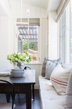 with Jennifer Robin Interiors for Rue Magazine Window seat for living room Kitchen Banquette, Banquette Seating, Dining Nook, Kitchen Nook, Corner Seating, Kitchen Decor, Kitchen Dining, Kitchen Banquet Seating, Dining Room Bench Seating