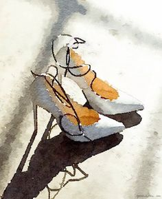 Waterlogue app, high heels, watercolor paint effect