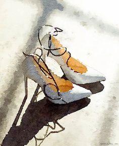 Waterlogue app, high heels, watercolor paint effect