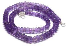 "Beautiful Shiny Natural Amethyst 8-5mm Round 22"" Loose Beads Choker Necklace #ChouhanGems #Choker"