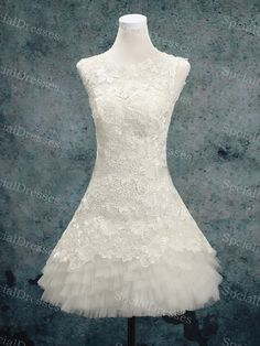 Fantastic White Lace Ball Gown Round Neckline by SpcialDresses, $176.99