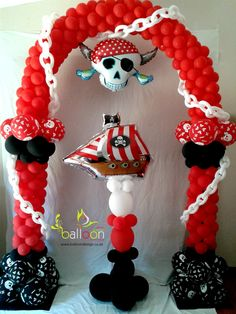Pirate Balloon Arch & Pillar - Great for your little pirates at their next birthday party!  #BalloonDecorations