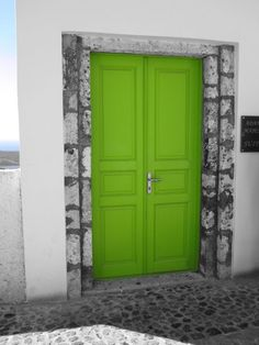 lime green door from Greece....print for living room