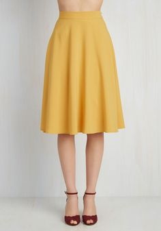 Just This Sway Skirt in Goldenrod. You definitely have that swing when you step out in this rich yellow midi skirt! #yellow #modcloth