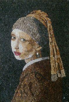 İnci Küpeli Kız / Girl with the Pearl Earring by Munteha Tuga, x Mosaic Crafts, Mosaic Art, Modern Art, Contemporary Art, Johannes Vermeer, Marble Art, Stone Art, Figure Painting, Figurative Art