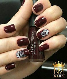 Unas Vino Tinto Y Negro Maquillaje Nails Botanic Nails Y Nail Art