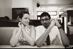 chicago cafe booth vintage Polka Dot Dress engagement photos
