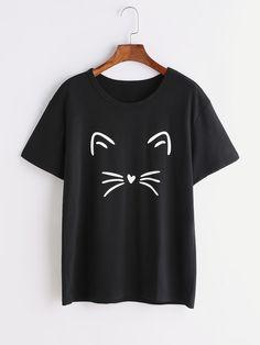 Shop Black Cat Print T-shirt online. SheIn offers Black Cat Print T-shirt & more to fit your fashionable needs.